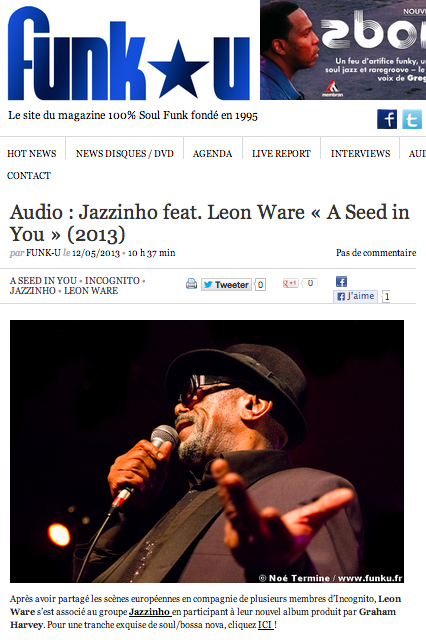 Jazzinho Leon Ware Seed In You Article Funk U France