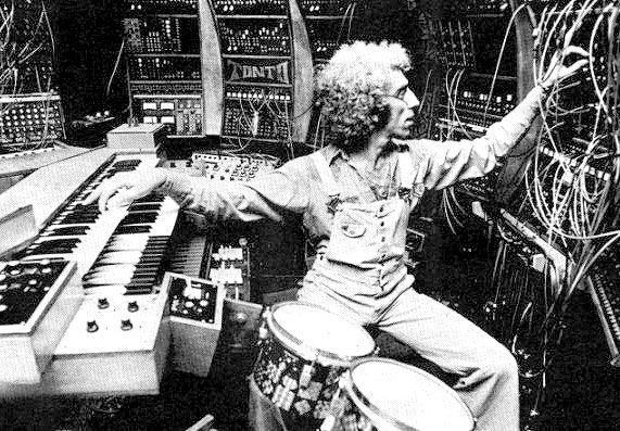 Malcom Cecil playing Tonto synthesizer with Bob Margouleff for Stevie Wonder